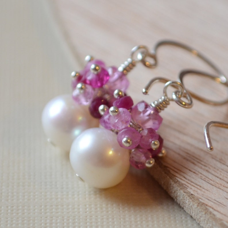Sterling Silver Jewelry Real Gemstones Free Shipping Made to Order July Birthstone Ruby Earrings Valentine Drop Pearl Earrings