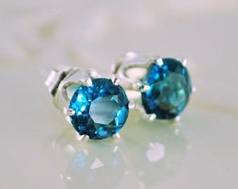 London Blue Topaz Stud Earrings, Genuine Deep Teal Gemstone, Sterling Silver, December Birthstone Jewelry, Free Shipping