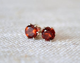 Genuine Garnet Stud Earrings, Sterling Silver Ear Posts, Gemstone Jewelry, Dark Red Real Stone, Round 5mm, January Birthstone, Free Shipping