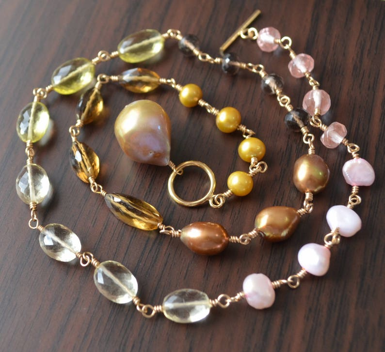 Luxe Gold Pearl Necklace Lemon Honey Smoky Quartz Gemstones Toggle Necklace Real Freshwater Pearls Large Baroque Pendant Necklace