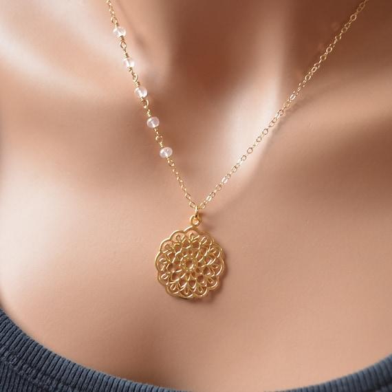 rose gold 10 pieces mandala pendant