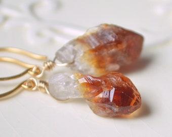 Raw Citrine Earrings, Drop Earrings, Rough Gemstone Jewelry, November Birthstone, Gold Vermeil Jewelry, Free Shipping