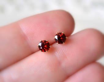Real Garnet Stud Earrings, Gemstone Jewelry, Dark Red Genuine Stone, Round 5mm, January Birthstone, 14K Gold Filled Ear Posts, Free Shipping