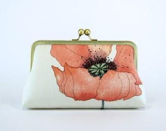 Romantic Poppy in Peach, Bridesmaid Clutch  With Silk Lining, Wedding clutch