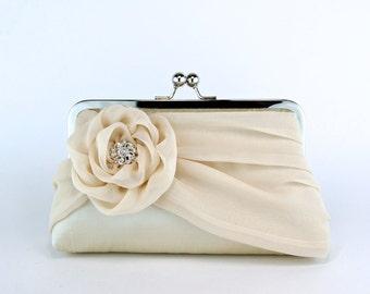 Bridal clutch, Silk Clutch In Champagne, Wedding clutch, Wedding purse, Bridesmaid clutch