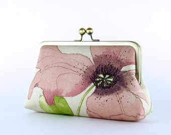 Bridesmaid Gift, Romantic Poppy in Pink, Bridesmaid Clutch (choose your clutch and color) With Silk Lining, Wedding clutch