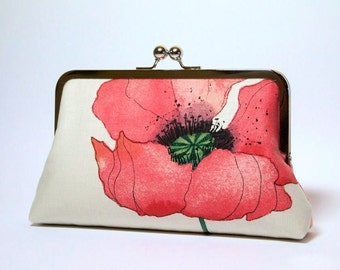 Romantic Poppy in Raspberry-red , Bridesmaid Clutch (choose your clutch and color) With Silk Lining, Wedding clutch