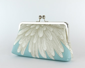 Bridesmaid Clutch, Chrysanthemum Clutch on Sky Blue (choose your color) With Silk Lining, wedding clutch,  bridesmaid gift