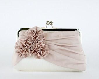 Bridal clutch, Roses Silk Clutch in Blush and Ivory, wedding clutch, wedding bag, Luxury Bridesmaid Gift