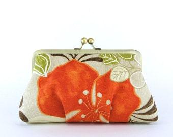 Bridesmaid Clutch, Orange Tropicana Clutch With Silk Lining, wedding clutch, bridesmaid gift