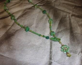 Green Metal Flower Lariat Necklace