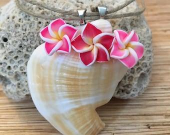 Plumeria Shell Hemp Necklace
