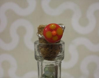 Lampwork   Bead  Wire Ring Size 4