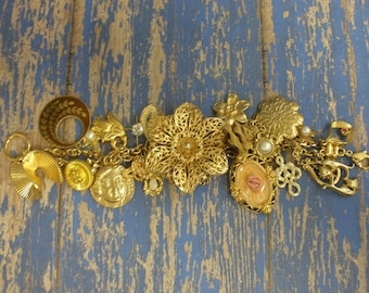 Gold Floral  Upcycled/Recycled Charm Bracelet