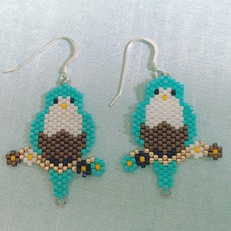 Blue Bird Beaded Earrings