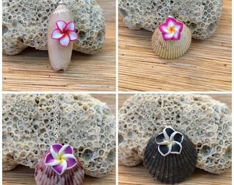 Plumeria Shell Pendant Necklace Your Choice