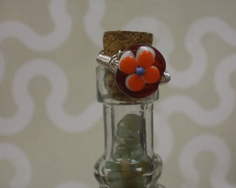 Lampwork   Bead  Wire Ring Size 7