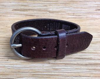 Dark Brown GAP Brand Genuine Leather Belt Cuff Bracelet L9