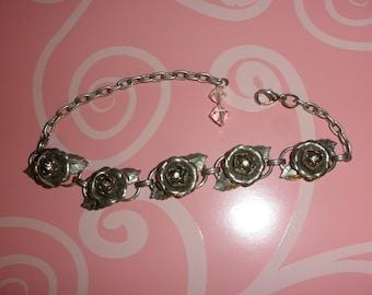 Vintage Metal Rose Adjustable Bracelet