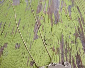 Silver Metal Mustache Necklace