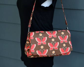 Butterfly Clutch Purse - Convertible Clutch in Brown and Pink Butterfly Print