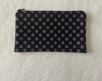 Black and Gray Zipper Pouch with Lime Green Lining