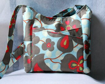 Crossbody Tote Bag with Front Pockets - Sunday Sling in Amy Butler Morning Glory