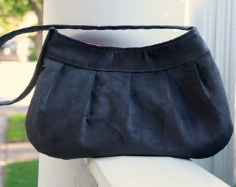 Gray Corduroy Purse - Buttercup Bag with Bright Pink Lining