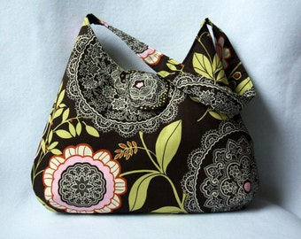 Amy Butler Hobo Bag - Brown Floral Slouch Purse