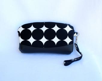 Black and White Wristlet Clutch with Faux Leather Accent - Black and White Polka Dot