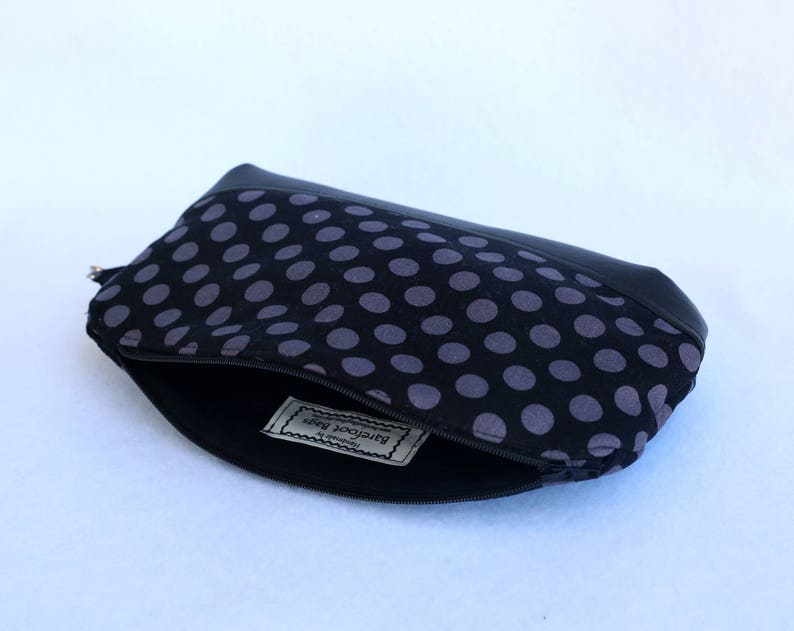 Black and Gray Polka Dot Black Wristlet Clutch with Faux Leather Accent
