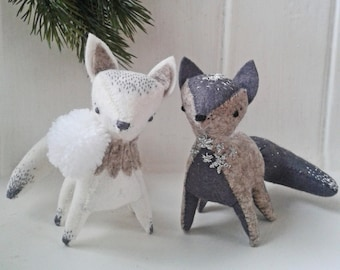 Arctic fox decoration.Pdf pattern. Handmade DIY ornament.Stuffed fox sewing pattern.Winter fox. Woodland felt animal. Soft sculpture