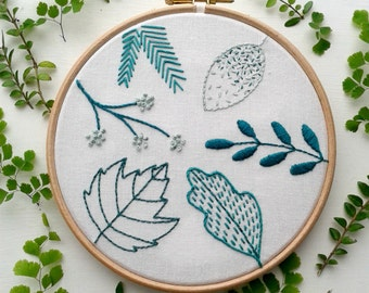 Beginner embroidery kit.Spring leaf stitch sampler. Modern needlework.Embroidery hoop art.Hand Embroidery tutorial.DIY kit.Botanical pattern