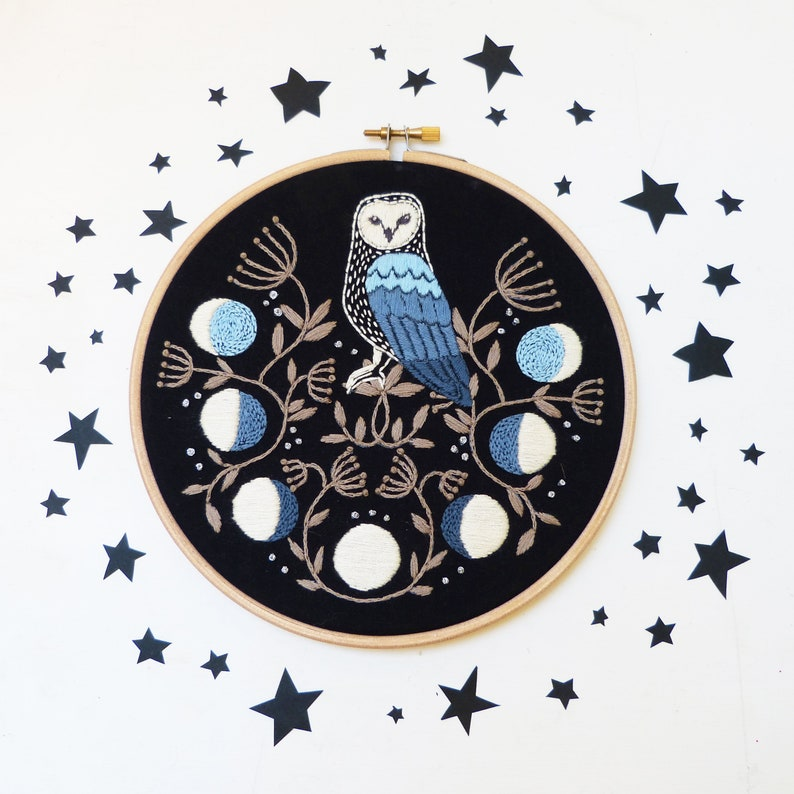 Owl 7 embroidery kit. Lunar phases. Moon calendar. image 0