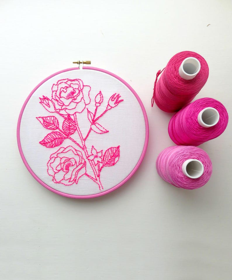 Pre-Printed Flower Leaf Pattern Embroidery Kit for Beginners Adults Crafts