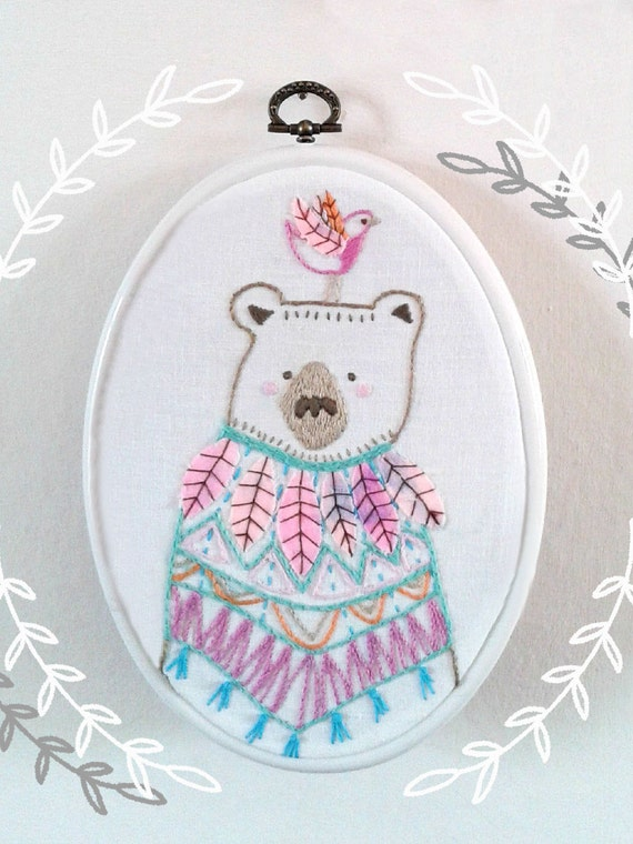 Embroidery Pattern Pdf Bear And Bird Embroidery Etsy
