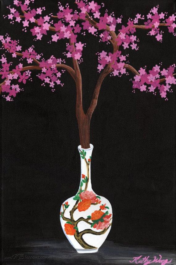 Chinesisches Porzellan Kirschblüte Vase Stillleben Kunst   Etsy