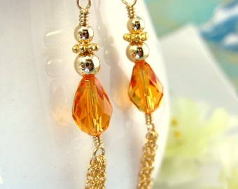 Orange Swarovski Crystal Gold Tassel Chain Earrings , Gold Fall Orange Crystal Tear Drop Earrings, Tribal Gold Tassel Orange Earrings