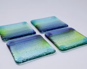 Coasters Set Of 4, Glass Coasters, Fused Glass Coasters, Beach House Gift, Blue Glass Coasters, Drink Coasters, Stained Glass Coasters