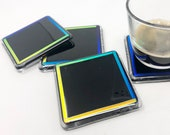 Coasters Set of 4, Glass Coasters, Fused Glass Coasters, Black Glass Coasters, Drink Coasters, Cocktail Gift, Christmas Gift for Him