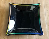Black and Rainbow Square Server, Serving Bowl, Fused Glass Platter, Salad Square Plate,