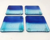 Glass Coasters, Set of 4, Coastal Decor, Blue Coasters, Wine Glass Coasters, Drink Coasters Set, Beach Lover Gift