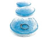 Ring Dish, Blue Ring Dish, Set of 3, Glass Ring Dish, Trinket Dish, Ring Holder Dish, Wedding Ring Holder, Jewelry Holder Dish, Hostess Gift