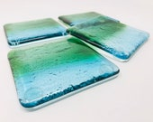 Fused Glass Coasters, Newlywed Gift, New House Gift, Beach Decor, Modern Coasters