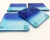 Fused Glass Coasters, Glass Coasters, Blue Glass Coasters, Drink Coasters, Beverages Coasters, Beach Coasters, Wine Glass Coasters, Coastal