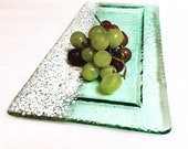 Glass Plate Food, Glass Tray, Fused Glass Platter, Stained Glass Tray, Beach Lovers Gift, Grape Tray, Serving Platter, Food Dish Tray