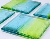 Set Of 4 Glass Coasters, Fused Glass Art, Beach Glass Coasters, Drink Coasters, Beach Decor, Nautical Coasters, Cup Coasters, Cocktail Gift