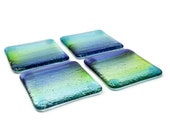4 Coasters Set, Stained Glass Coasters, Beach Glass Coasters, Drink Coasters, Cocktail Coasters, Fused Glass Decor