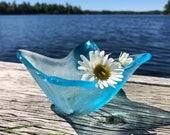 Stained Glass Vase, Blue Vase, Flower Vase, Japanese Ikebana Vase, Beach Table Vase, Coastal Decor, Centerpiece Vase, Modern Vase, Wife Gift