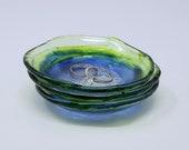 Jewellery Dish, Set of Three, Bride to Be Gift, Wedding Ring Dish, Fused Glass, Trinket Dish